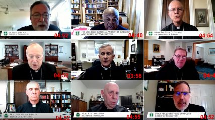 Video screengrabs of clergy participating in the annual spring meeting of the U.S. Conference of Catholic Bishops, Thursday, June 17, 2021. Video screengrabs