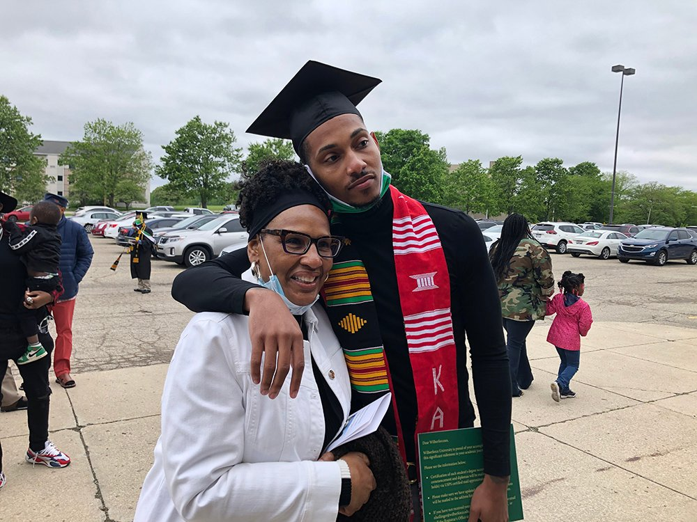 Rodman Allen hugs his mother after the 2021 Wilberforce University Commencement, Saturday, May 29, 2021, in Wilberforce, Ohio. Courtesy photo