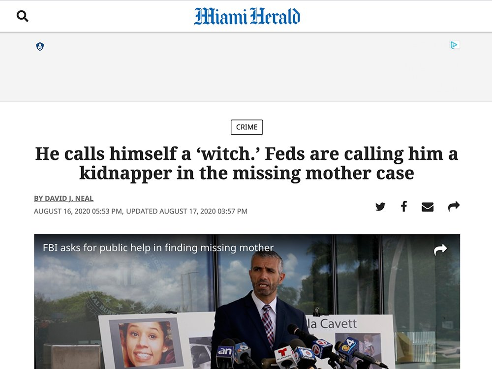 A recent Miami Herald headline about Shannon Ryan. Screengrab