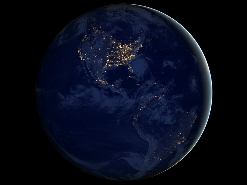 This image of North and South America at night is a composite assembled from data acquired by the Suomi NPP satellite in April and October 2012. Image courtesy of NASA/Creative Commons