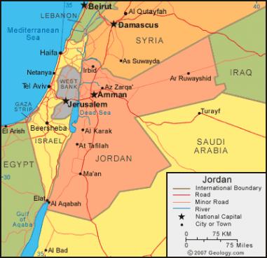Jordan. Map courtesy of World Map