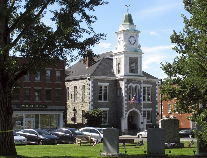 FILE - This Aug. 2017 photo shows the Litchfield Judicial District Courthouse in Litchfield, Conn. (AP Photo/Dave Collins)