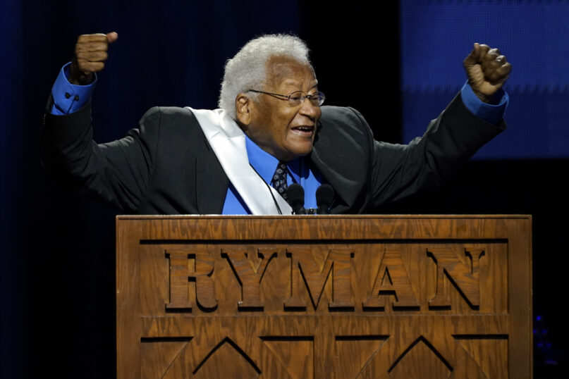 The Rev. James Lawson speaks speaks during a celebration of life marking the one-year anniversary of U.S. Rep. John Lewis' death, July 17, 2021, in Nashville, Tennessee. (AP Photo/Mark Humphrey)