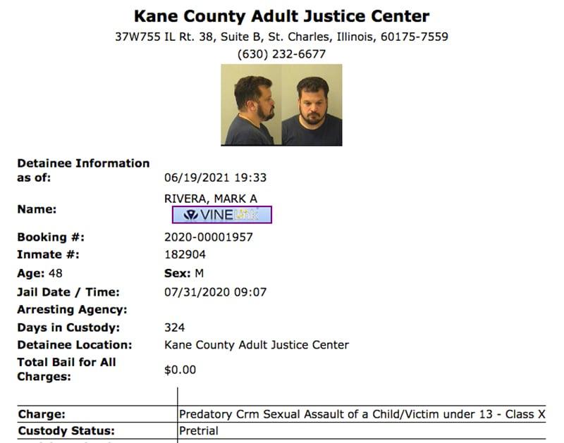 Kane County, Illinois, booking information for Mark Rivera. Screengrab