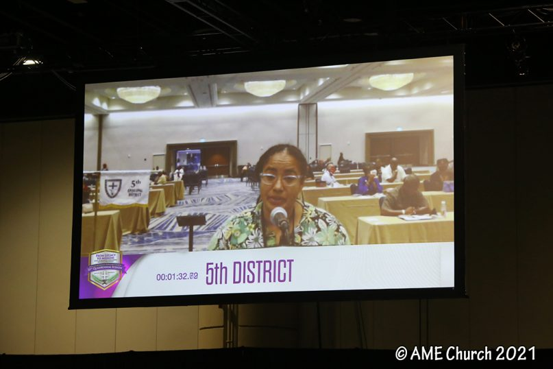 The Rev. Dr. Jennifer Leath presents a resolution to appoint a sexual ethics discernment committee to make recommendations about LGBTQ matters, during the General Conference of the African Methodist Episcopal Church, in Orlando, Florida. Photo courtesy of the AME Church