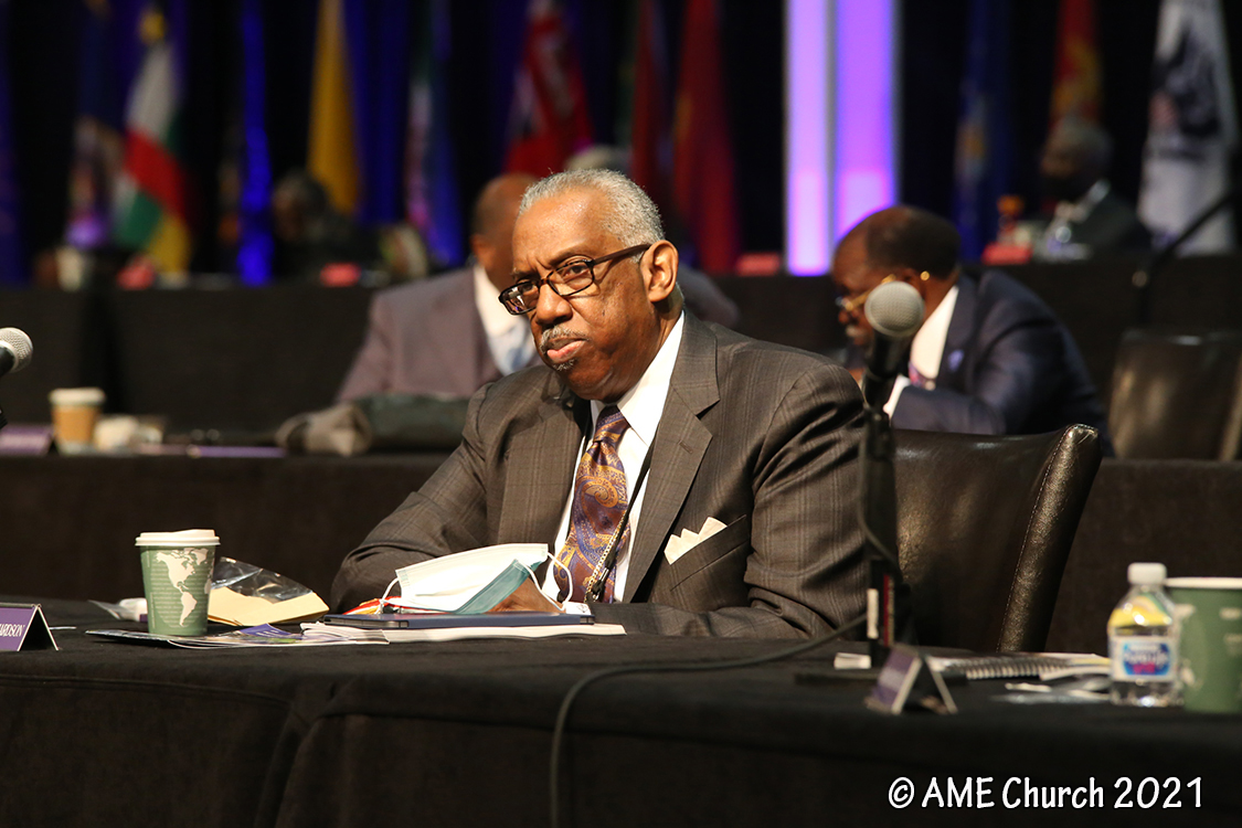 Senior Bishop Adam J. Richardson listens to discussion during the General Conference of the African Methodist Episcopal Church, in Orlando, Florida. Photo courtesy of the AME Church