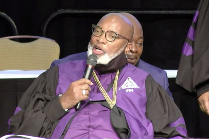 Bishop George Edward Battle Jr., outgoing senior bishop, speaks during the AME Zion Church's General Conference on July 28, 2021. Screen grab of AME Zion  Church's General Conference livestream