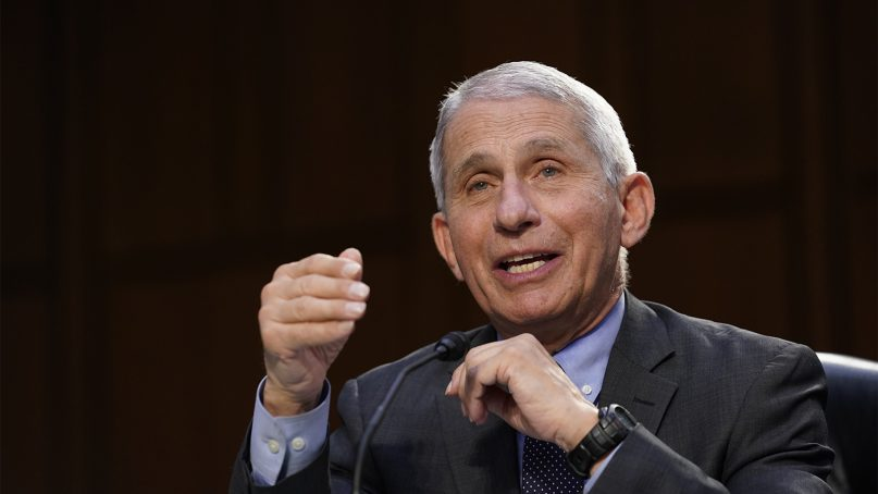 Dr. Anthony Fauci, director of the National Institute of Allergy and Infectious Diseases, testifies during a Senate Health, Education, Labor and Pensions Committee hearing on the federal coronavirus response on Capitol Hill in Washington, March 18, 2021. (AP Photo/Susan Walsh, Pool)