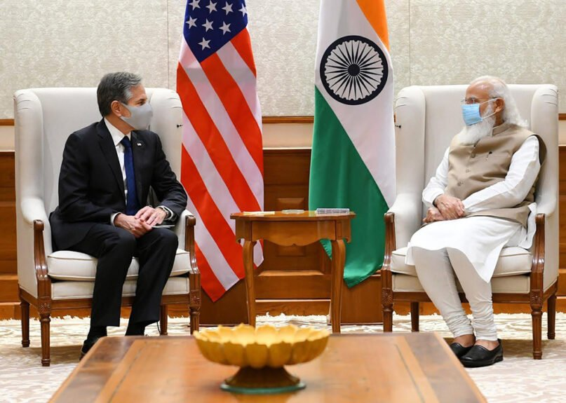 Secretary of State Antony Blinken sits and talks with Indian Prime Minister Narendra Modi during Modi's visit to the U.S. this week. Photo courtesy of Blinken's twitter
