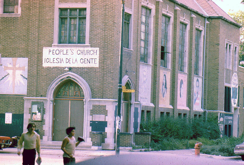 """A banner for the """"People's Church"""" hangs outside Armitage Methodist Church, circa 1970. Photo © Carlos Flores"""