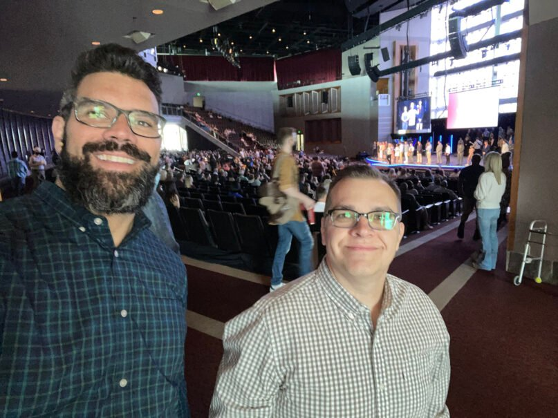 Pastor Chris Swain, right, with pastor Robby Gallaty of Long Hollow Baptist Church in Hendersonville, Tennessee. Submitted photo