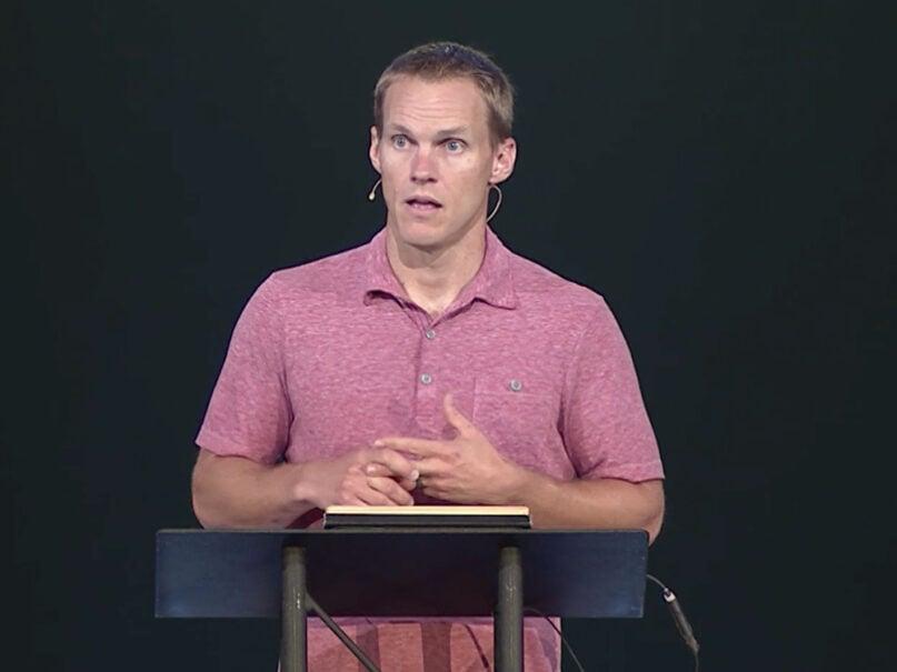 Pastor David Platt preahes at McLean Bible Church, July 11, 2021, in Vienna, Virginia. Video screengrab via MBC