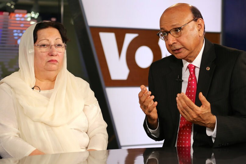 Khizr and Ghazala Khan, the parents of an Army captain killed in Iraq, speak with Voice of America's Urdu service in Washington, D.C., Aug. 1, 2016. Photo by B. Allen/Voice of America. Courtesy of WIkimedia/Creative Commons