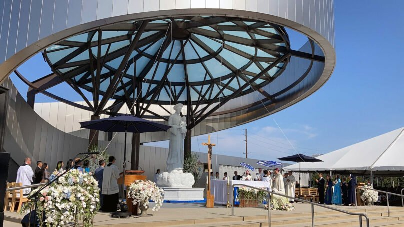 An estimated 8,000 people attended the unveiling of the Our Lady of La Vang shrine on Saturday, July 17, 2021, in Garden Grove, California. Events included a blessing of the shrine, Mass and other festivities. Photo by Alejandra Molina/RNS