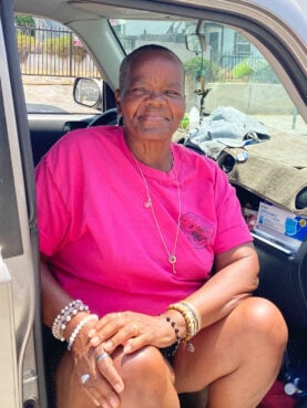 Laddie Williams a lifelong Oakwood resident, began sitting outside the church in 2017, in protest of the sale of the church. Others became involved in the church's preservation efforts after seeing her sitting outside the church. RNS photo by Alejandra Molina
