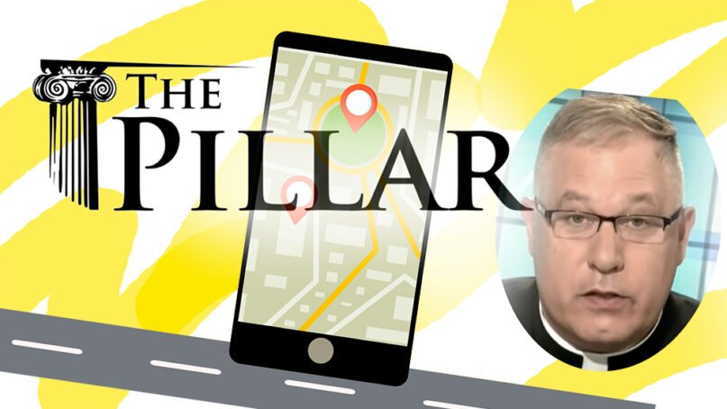 The Pillar published an investigation of Monsignor Jeffrey Burrill, largely based on his phone's location data. RNS illustration by Kit Doyle