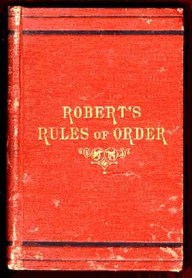 1876 cover of Robert's Rules of Order. Photo courtesy of Creative Commons
