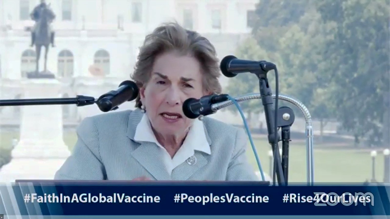 Representative Jan Schakowsky (D-IL) speaks from Washington, D.C. during a livestream of a virtual interfaith prayer service advocating for vaccine equity, Tuesday, July 20, 2021. Video screengrab