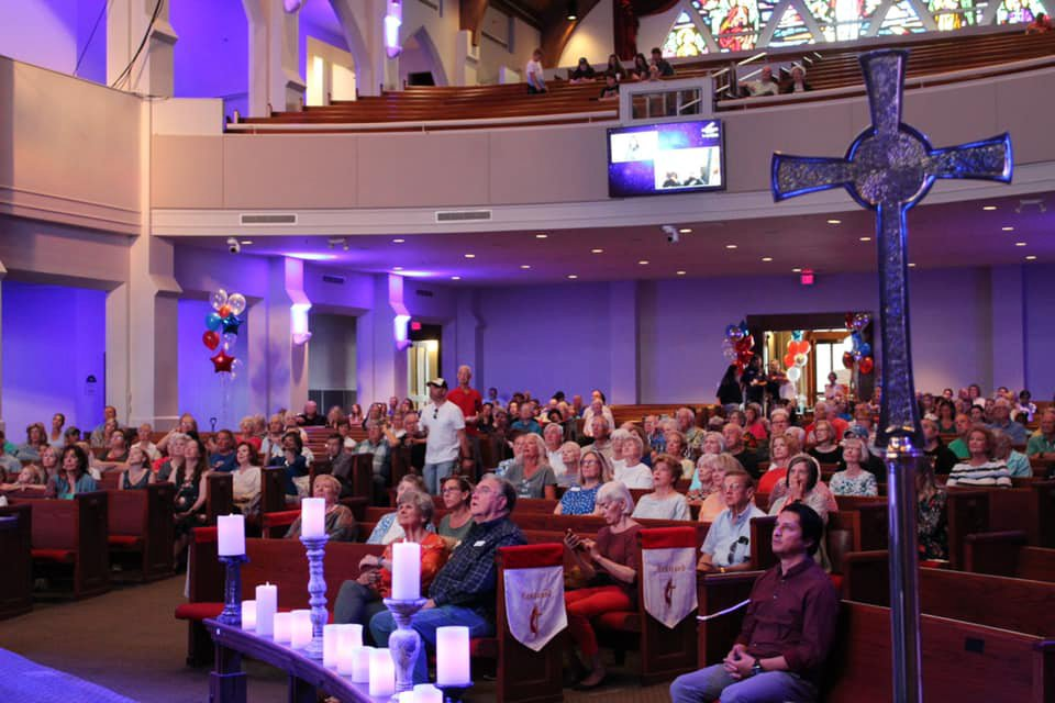 People attend a space launch watch party Tuesday morning, July 20, 2021, at White's Chapel UMC in Southlake, Texas. Wally Funk, a church member and pioneering pilot, became the oldest person in space on the mission. Photo courtesy of White's Chapel UMC