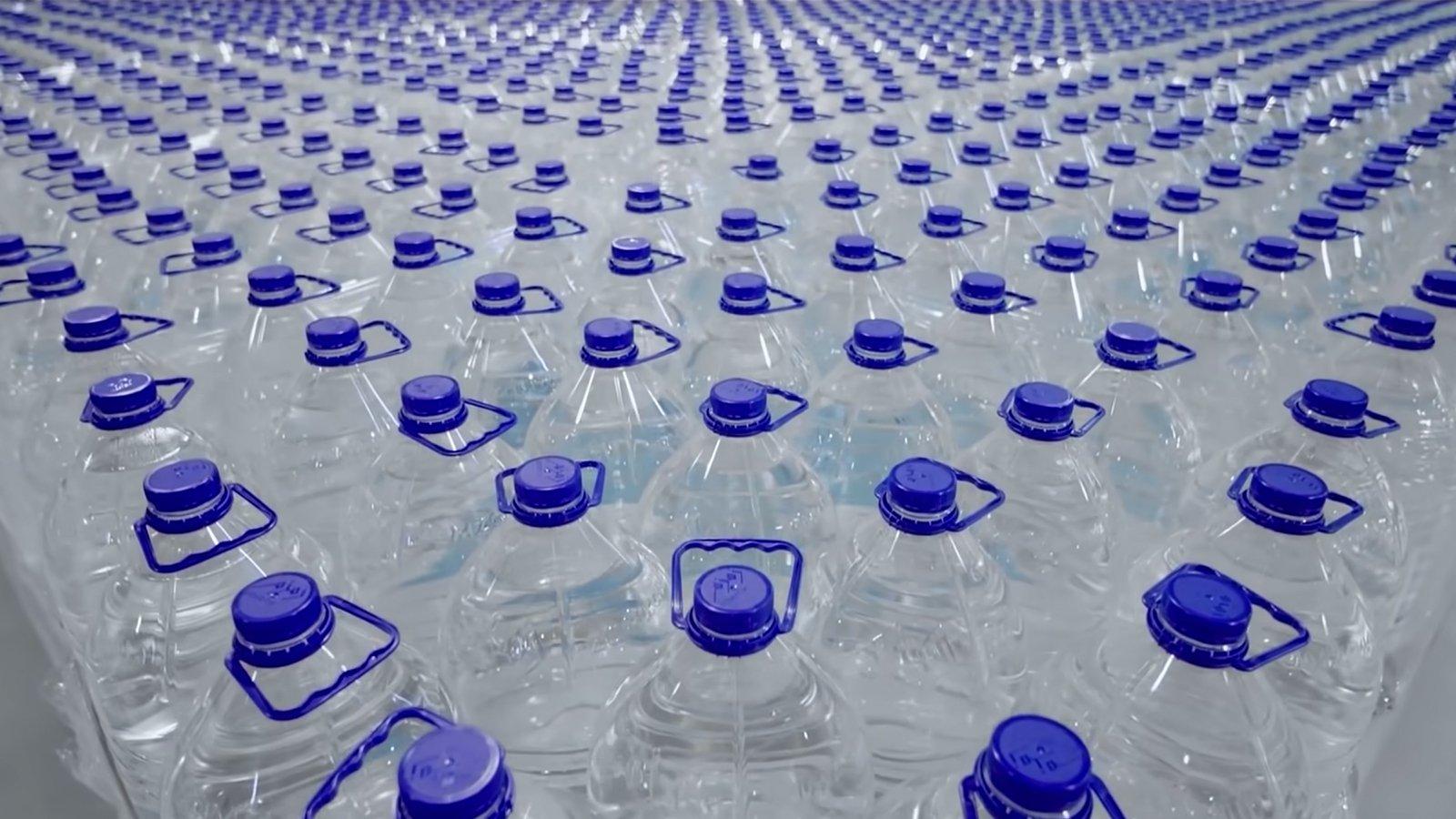 Bottles of zamzam water await distribution in Mecca, Saudi Arabia. Video screengrab