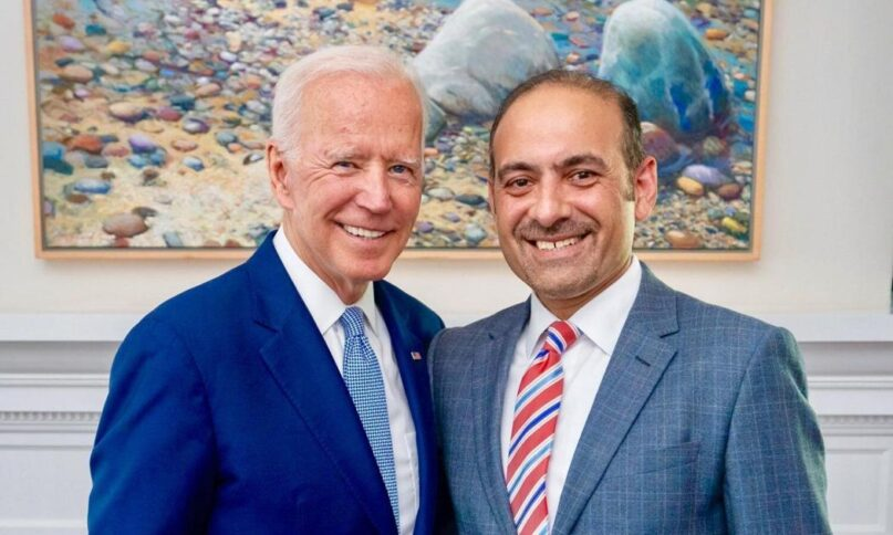 President Biden shakes hands with Dilawar Syed, whom Biden nominated for deputy administrator of the Small Business Administration on March 3, 2021. Photo via Twitter/Dilawar Syed