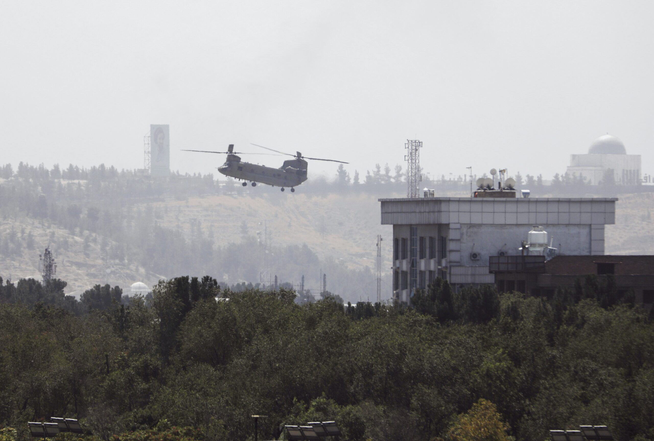 U.S. personnel were evacuated from the U.S. Embassy in Kabul, the Afghan capital, as Taliban insurgents broke through the city's defensive line, Aug. 15, 2021. (AP Photo/Rahmat Gul)