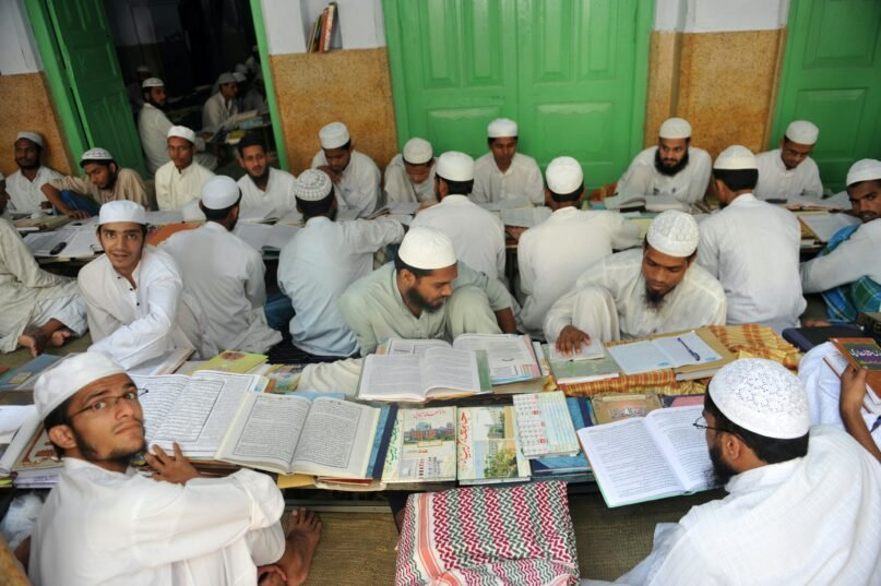 Students on the campus of Darul Uloom, the Deoband school of Islam located in a small town, Deoband, in the northern Indian state of Uttar Pradesh (Sajjad Hussain/AFP via Getty Images)