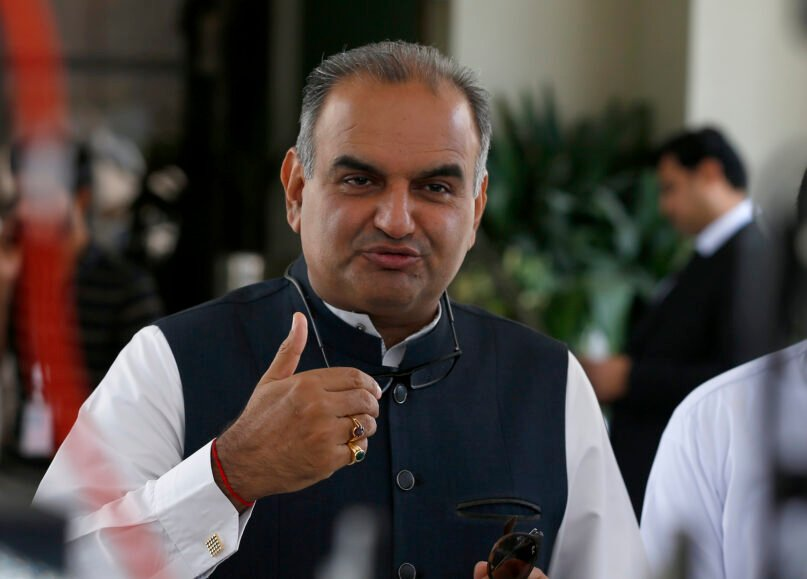 Ramesh Kumar, a Pakistani lawmaker and leader of Hindu community, talks to media after the hearing of the Hindu temple attack case in Islamabad, Pakistan, Friday, Aug. 6, 2021. A Muslim mob stormed a Hindu temple in a remote town in Pakistan's eastern Punjab province on Wednesday, damaging statues and burning down the temple's main door. The attack followed an alleged desecration of a madrassa, or religious school, by a Hindu boy earlier this week, police said. (AP Photo/Anjum Naveed)