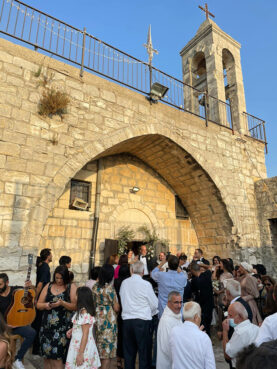 A recent wedding in the restored Christian church in Biram, Israel. Photo by Bader Mansour