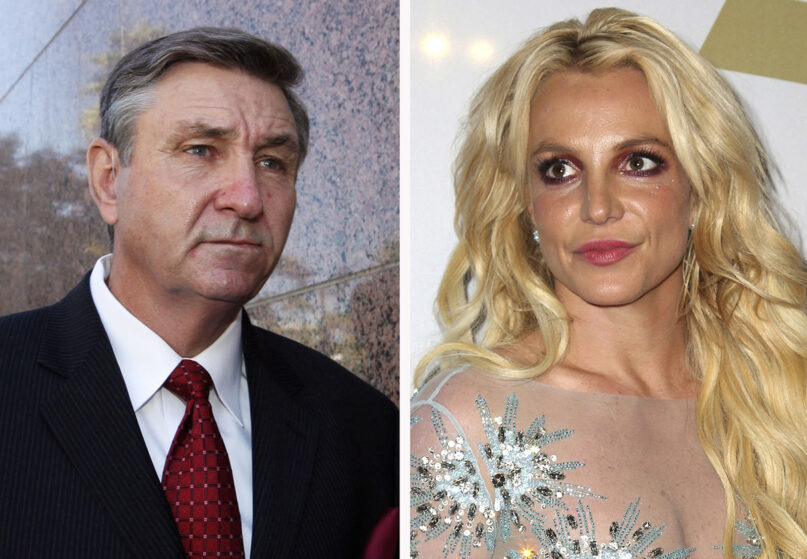 This combination photo shows Jamie Spears, left, father of Britney Spears, on Oct. 24, 2012, in Los Angeles and Britney Spears on Feb. 11, 2017, in Beverly Hills, Calif.. Britney Spears' father agreed Thursday, Aug. 12, 2021, to step down from the conservatorship that has controlled her life and money for 13 years, according to reports. (AP Photos)