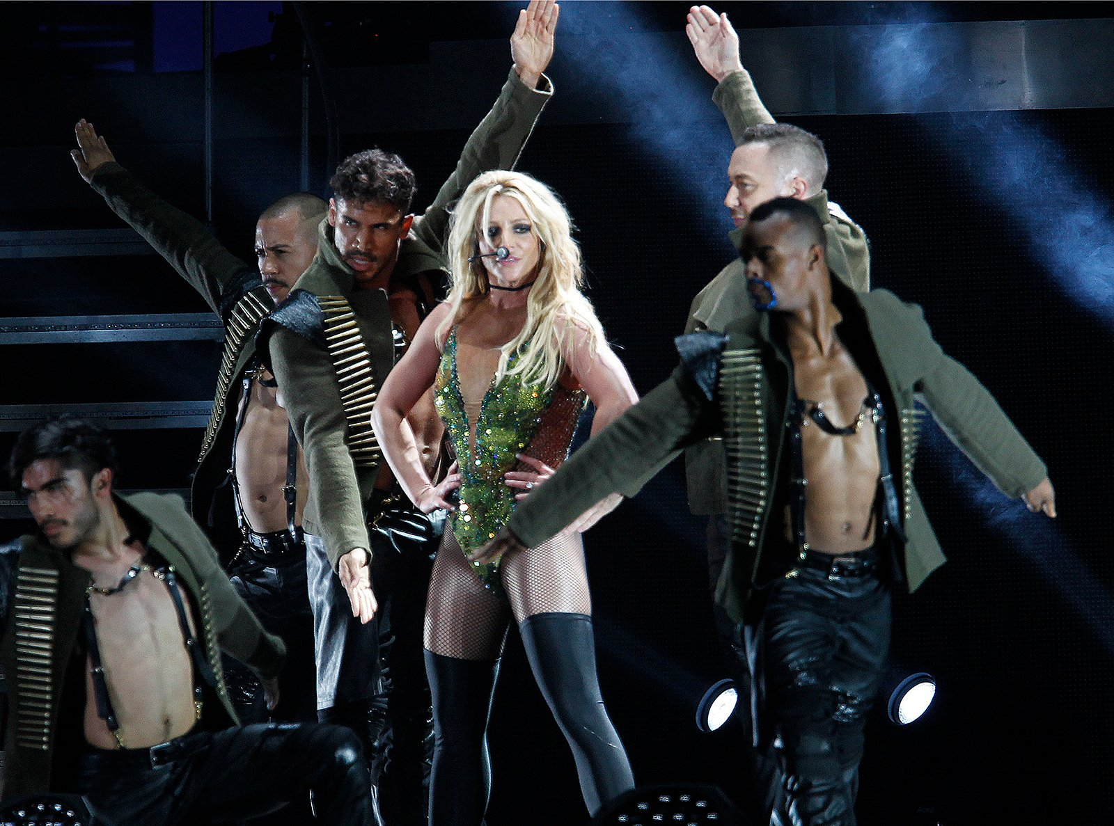 In this June 13, 2017, file photo, Britney Spears performs during her concert in Taipei, Taiwan. (AP Photo/Chiang Ying-ying, File)