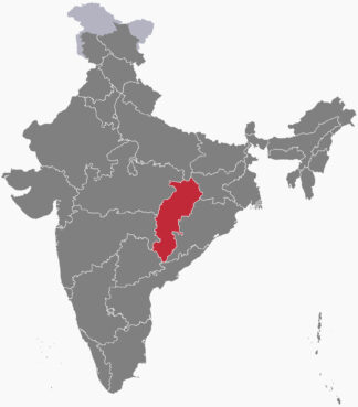 The state of Chhattisgarh, red, in central India. Map courtesy of Creative Commons