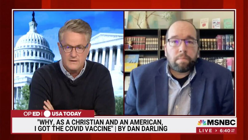 """Daniel Darling, right, appears on MSNBC's """"Morning Joe"""" on Aug. 2, 2021, with host Joe Scarborough. Video screengrab"""