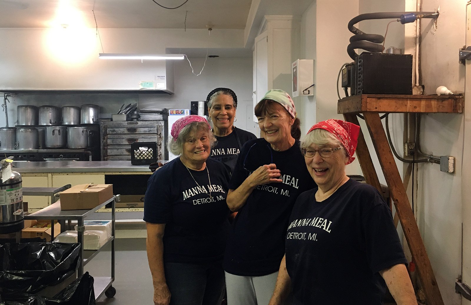 Manna Meal soup kitchen volunteers at St. Peter's Episcopal Church, Friday, July 30, 2021, in Detroit. RNS photo by Renée Roden