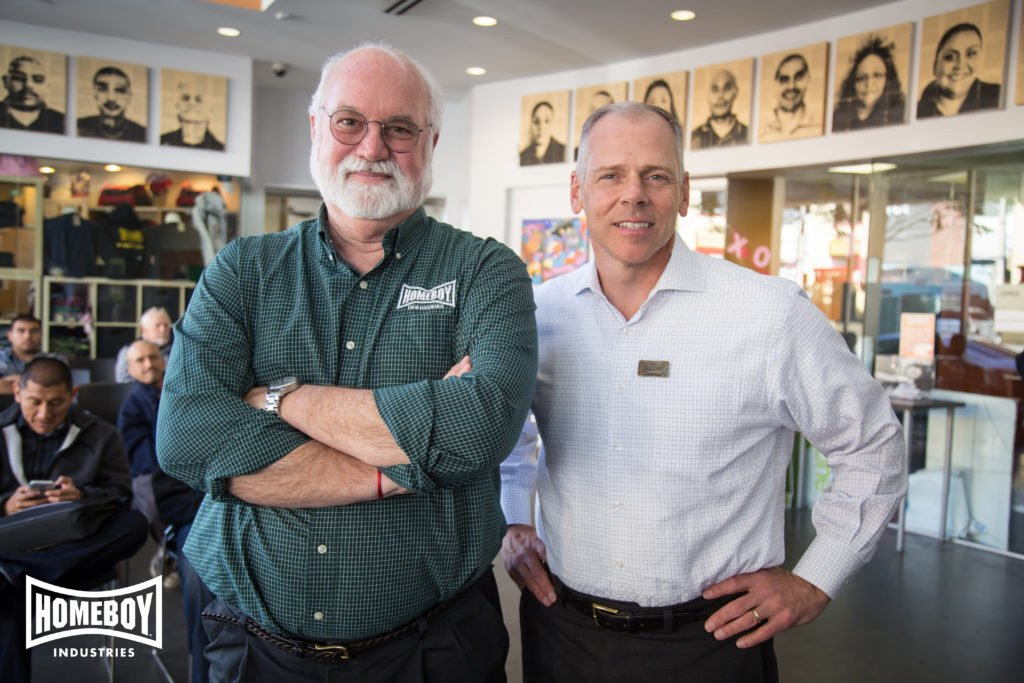 Homeboy Industries founder Jesuit Father Gregory Boyle, left, and CEO Thomas Vozzo. Photo courtesy of Homeboy Industries