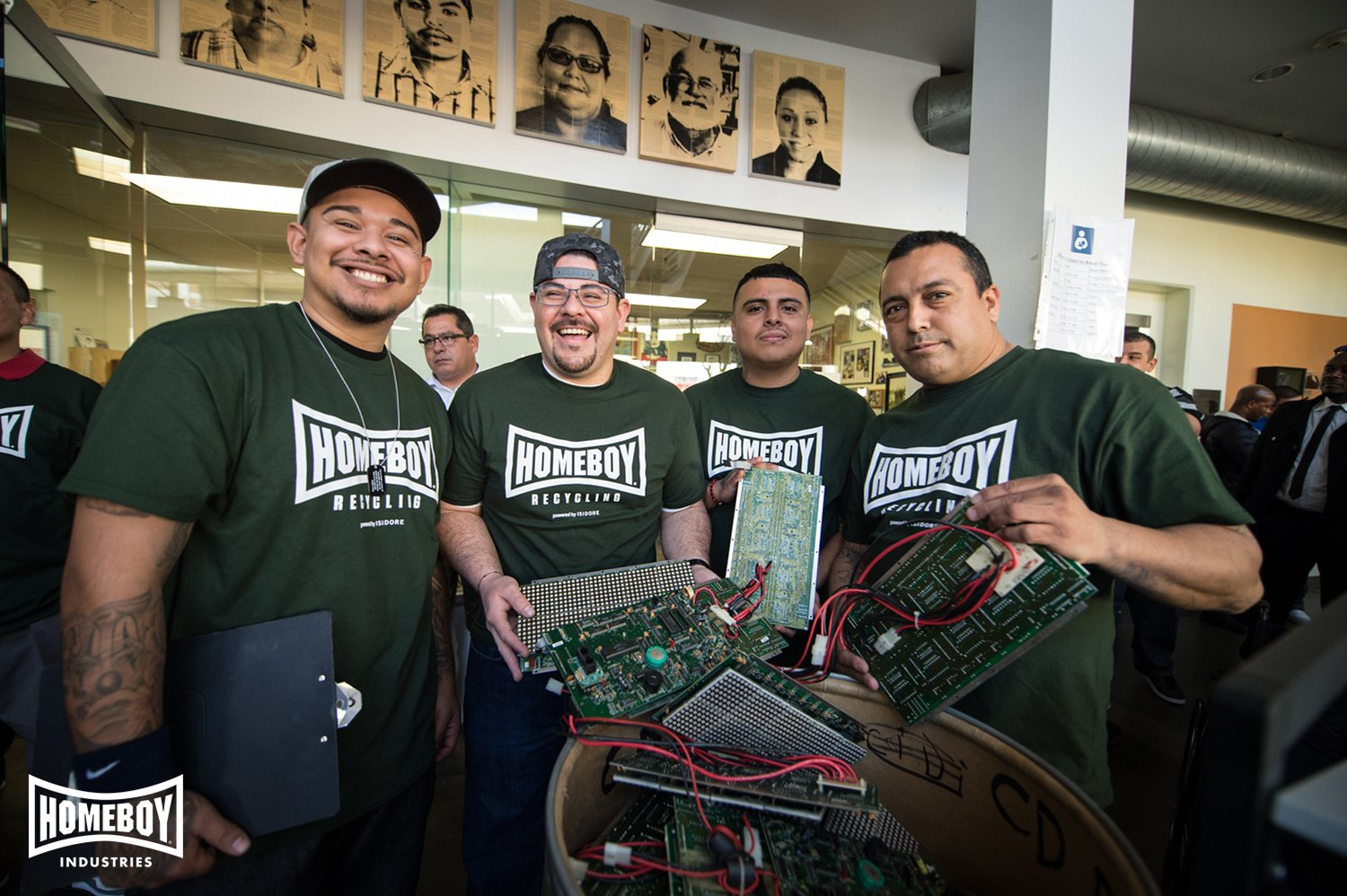 Team members with Homeboy Recycling pose together in Los Angeles. Photo courtesy of Homeboy Industries