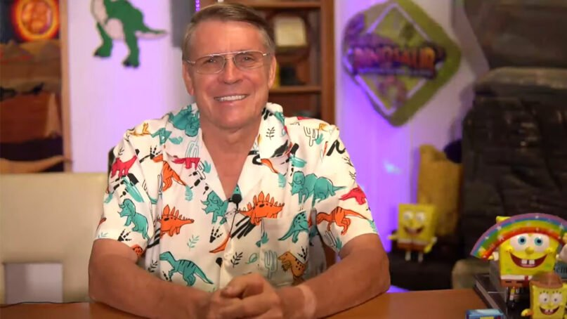 """The Rev. Kent Hovind, known as """"Dr. Dino,"""" in an Aug. 2, 2021, livestreamed video. Video screen grab"""