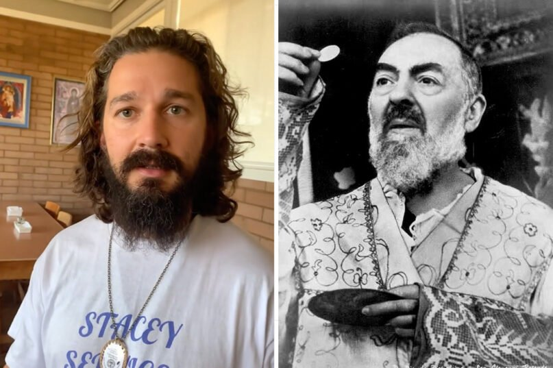 Actor Shia LaBeouf, left, has been preparing at a Capuchin monastery to portray St. Padre Pio in an upcoming film. Video screen grab, left, and RNS file photo