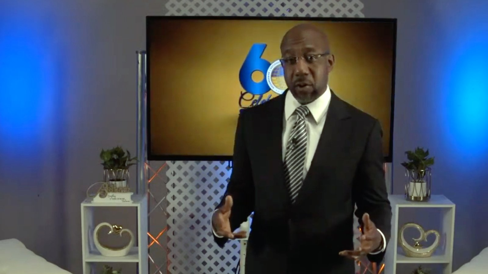 The Rev. Raphael Warnock addresses a virtual 60th annual gathering of the Progressive National Baptist Convention, Wednesday, Aug. 4, 2021. Video screengrab