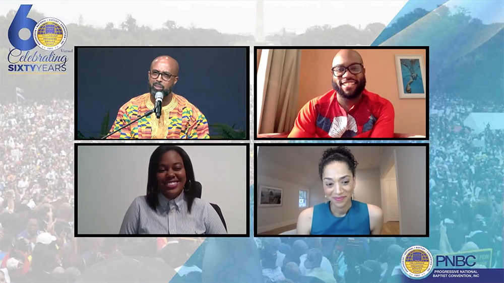 """The Progressive National Baptist Convention virtual gathering presents a panel titled, """"The State of The Union and The Response of The Black Church."""" Video screengrab"""