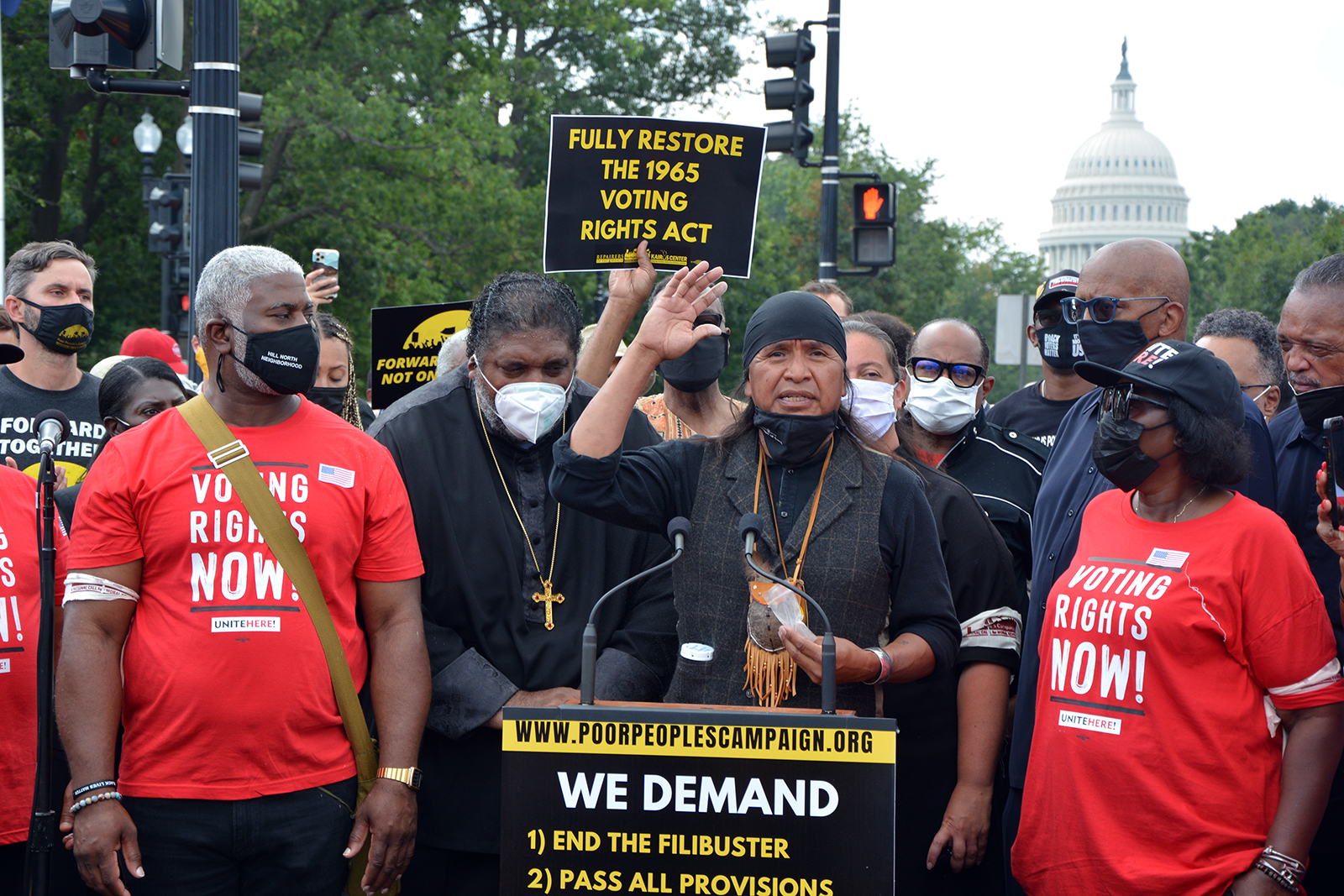Wendlser Nosie, an Apache activist, speaks during a Poor People's Campaign demonstration in Washington, Monday, Aug. 2, 2021. RNS photo by Jack Jenkins