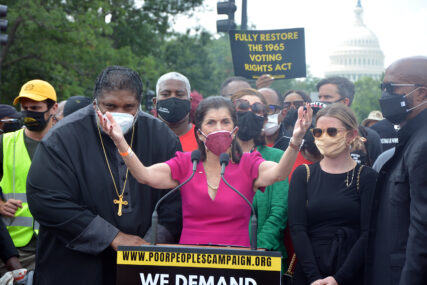 Luci Baines Johnson, center, speaks during a Poor People's Campaign demonstration in Washington, Monday, Aug. 2, 2021. RNS photo by Jack Jenkins