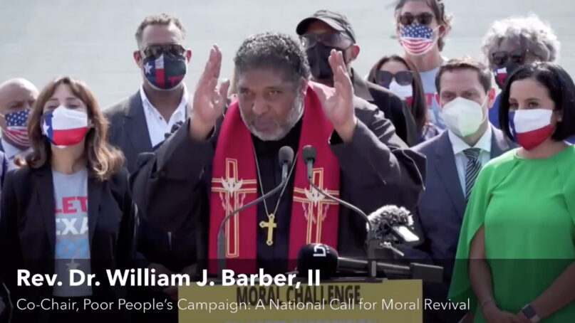 The Rev. William Barber II, co-chair of the Poor People's Campaign, speaks outside the Supreme Court building Aug. 12, 2021, in Washington, D.C. Video screen grab