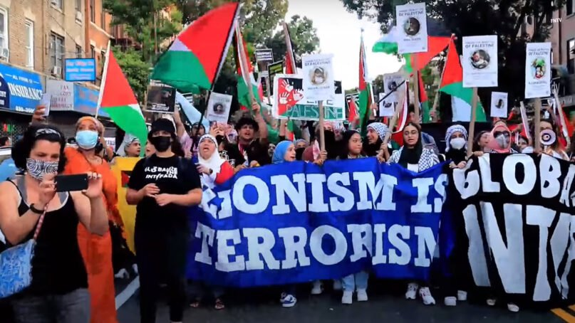 A pro-Palestine march in the Bay Ridge section of Brooklyn, July 30, 2021. Video screen grab via YouTube/FNTV