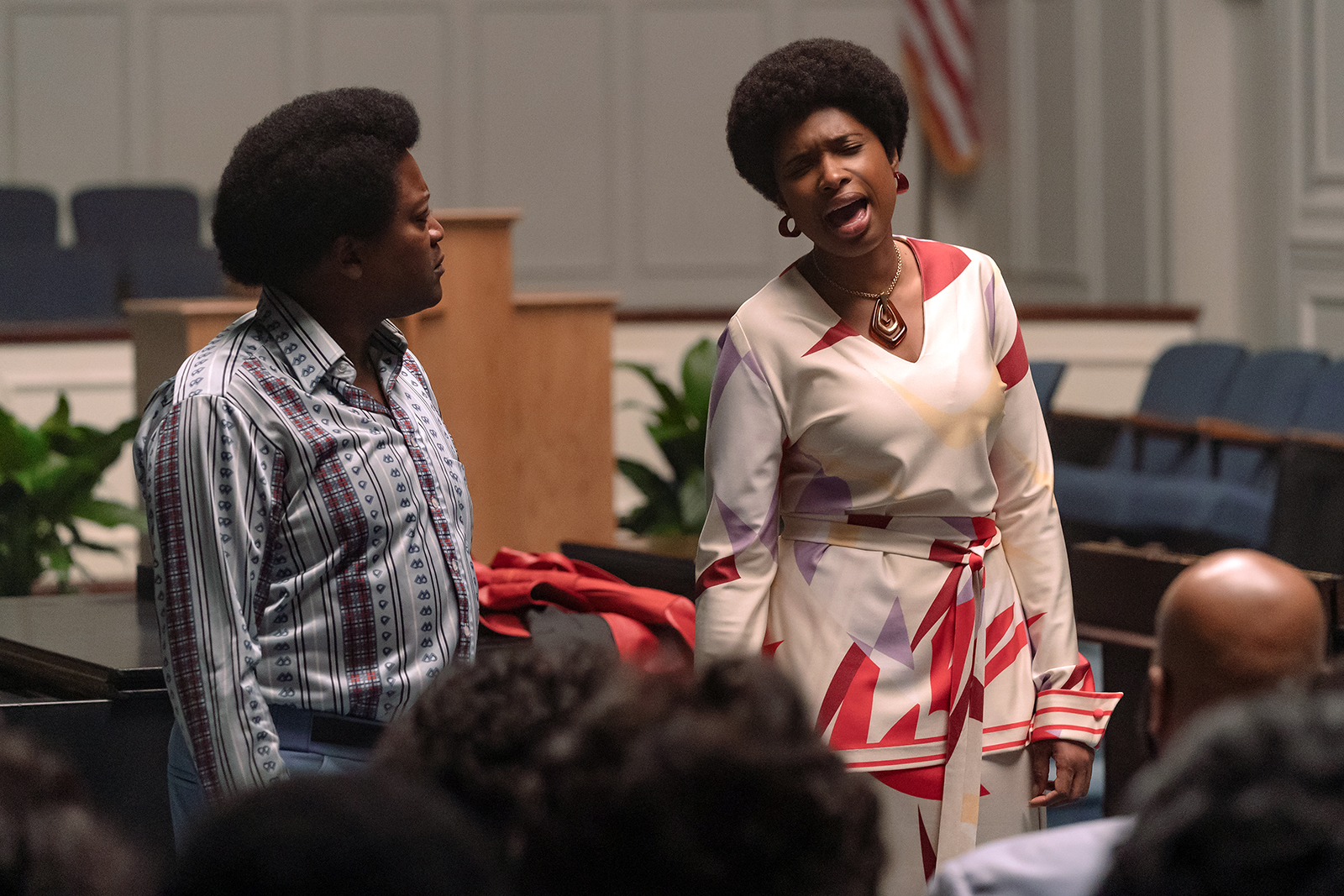 """Tituss Burgess, left, stars as the Rev. Dr. James Cleveland and Jennifer Hudson as Aretha Franklin in a scene from the film """"Respect."""" Photo by Quantrell D. Colbert/© 2021 Metro-Goldwyn-Mayer Pictures Inc. All Rights Reserved"""