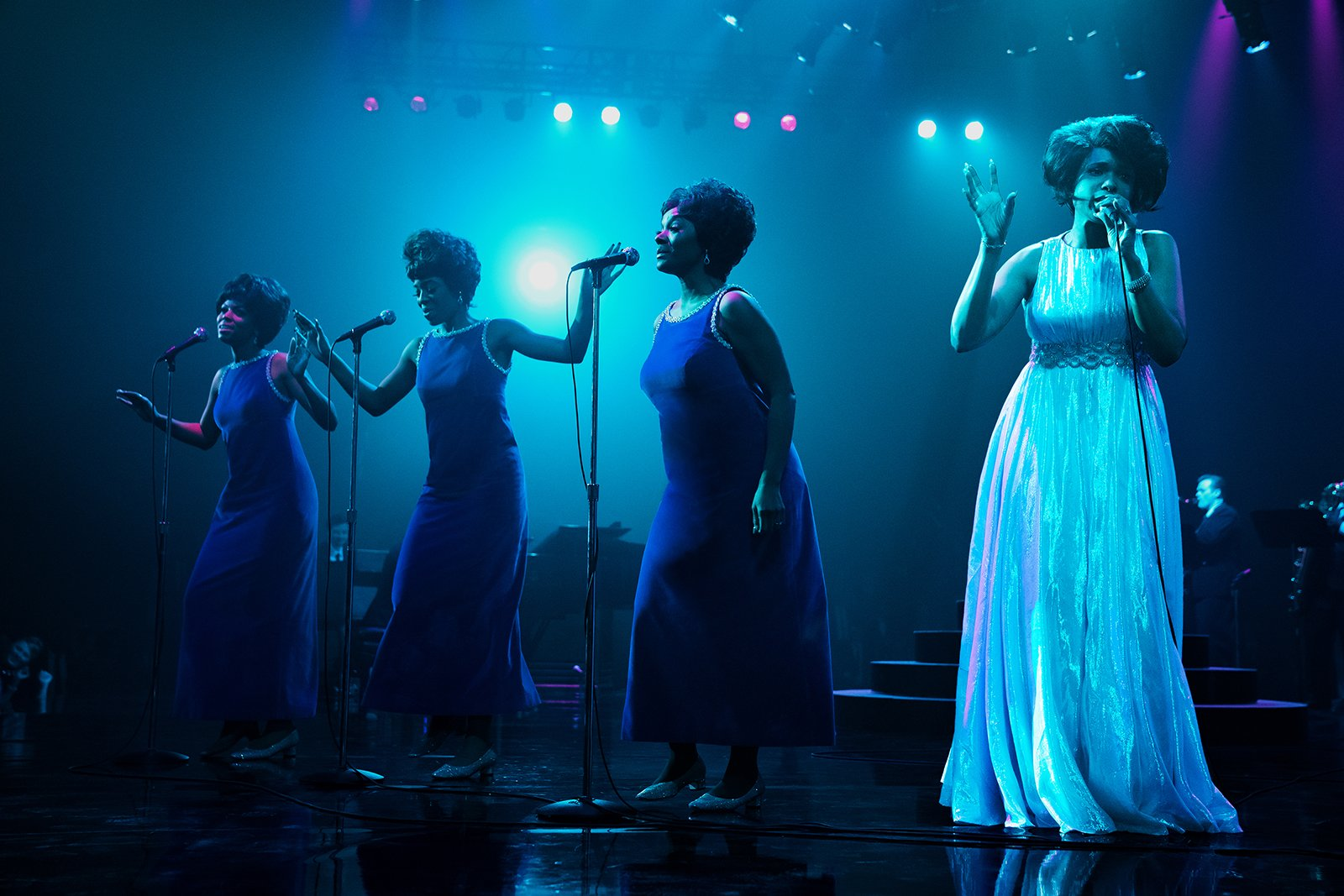 """Brenda Nicole Moorer, from left, as Brenda Franklin, Hailey Kilgore as Carolyn Franklin, Saycon Sengbloh as Erma Franklin and Jennifer Hudson as Aretha Franklin in a scene from """"Respect,"""" a Metro Goldwyn Mayer Pictures film. Photo by Quantrell D. Colbert/© 2021 Metro-Goldwyn-Mayer Pictures Inc. All Rights Reserved."""