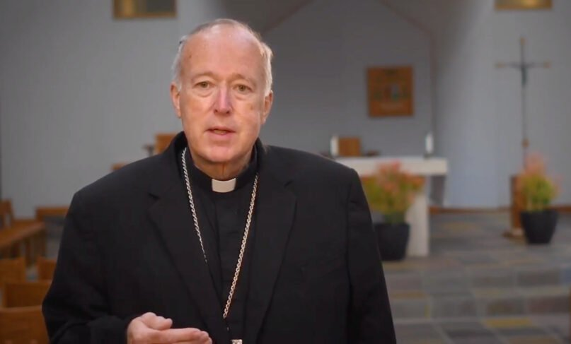 Bishop Robert McElroy delivers a message on vaccines in a March 2021 video released by the Diocese of San Diego. Video screengrab