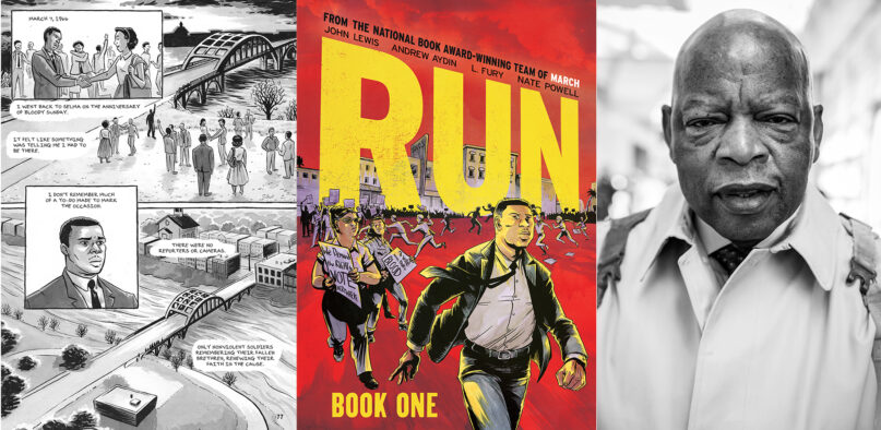 """Images from the """"Run"""" graphic novel, cover and John Lewis. Courtesy image"""