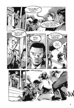 """A page from the """"Run"""" graphic novel. Courtesy image"""