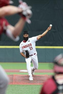 Boston College senior Samrath Singh pitches during a game in April 2021. Photo courtesy of Boston College Athletics